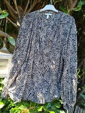 Bluse H&M Tunika Gr 40-44 schwarz creme Paisley oversize Top