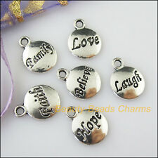 12Pcs Antiqued Silver Believe Faith Hope Laugh Family Love Mixed Charms Pendants