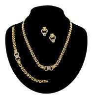 Rhinestone Gold Tone Link Pierced Earrings Necklace Bracelet Jewelry Set Vintage