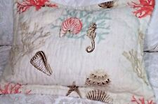 Seashell Pillow Sham Standard Quilt Cover Coral Shells Sealife New!