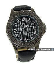 mens gunmetal black diamond watch ice out warranty business hip hop clubbing