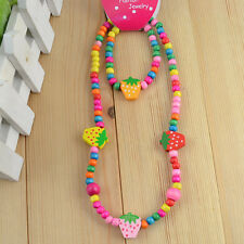 1 Set Cute Multicolor Strawberry Wooden Beads Necklace Bracelet Kids Jewelry Set