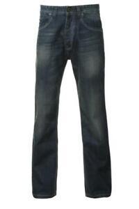 Mens denim cotton straight leg jeans distressed smart casual indie workwear