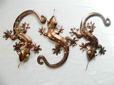 Gecko Wall Art Ornament Metal Geckos Lizard Wall Hanging - Set of 3 Bronze 29cm