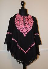 Kashmir Poncho Black with Salmon Pink - New - India - Ethnic (item xp12c)