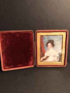 Miniature Portrait Of A Young Lady, Watercolor On Ivorine, Circa 1860