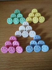Smiley face buttons 15mm round shank, baby,children.Novelty includes 17 Colours