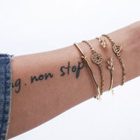 4 Stück / Set Mode Bohemia Leaf Knot Hand Manschette Link Chain Charm ArmbandXUI