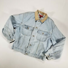 Banana Republic Blue Jean Denim Jacket LARGE Light Wash Leather Collar VTG 90s