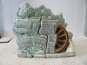 """Vintage 1950s McCoy Pottery Planter Vase """"Down By The Old Mill Stream"""""""