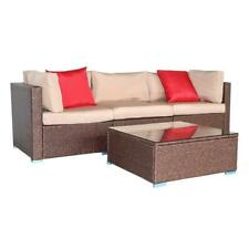 4 PCS Patio Furniture Couch Wicker Rattan Sectional Sofa Table Set w/ 2 x Pillow