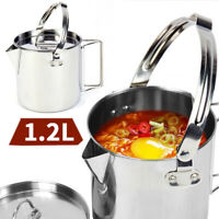 1.2L Camping Cooking Kettle Stainless Steel Hanging Pot with Lid Outdoor Picnic