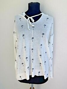 Anthropologie Moth Palm Tree Print Linen Blend Hooded Top - Size Large