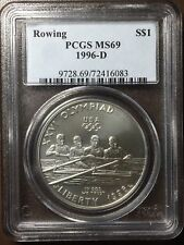 1996-D Olympic Silver Dollars: Paralympics, High Jump, Rowing PCGS MS 69