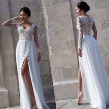 Simple 2016 Beach Wedding Dresses Custom Long Sleeve Split Side Bridal Gowns