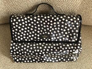 Kate Spade Black with white Polka Dot Make up Travel Case Bag Purse