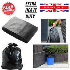 More details for black bin bags heavy duty extra strong liners rubbish waste refuse sacks 50pcs