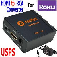 HDMI to 3RCA Composite AV Converter For Roku Express/Premiere/Streaming Stick