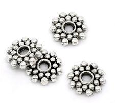 100 PCs Silver Tone Snowflake Spacer Beads 8mm Dia.