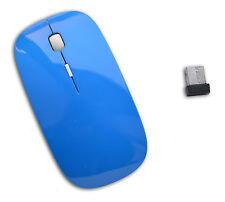 MOUSE USB OTTICO 2.4GHz  WIRELESS 400 1600 DPI RICEZIONE 10MT AZZURRO + BATTERIE