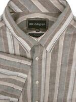 MARKS & SPENCER M&S Shirt Mens 18.5 XXL Stripes LINEN BLEND SHORT SLEEVE NEW