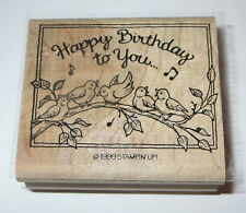 Happy Birthday To You Rubber Stamp Birds Music Notes Stampin Up Branch Retired