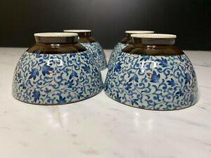 Japanese Blue and White Porcelain Rice Bowls Set of 4
