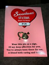 Pave Crystals Pin / Card Sweetheart Valentine Goldtone Double Heart With