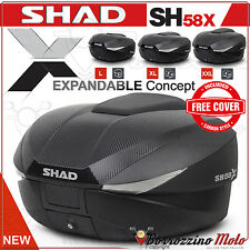 SHAD SH58X MOTO TOP-CASE VALISE EXTENSIBLE 46 > 58 LTR + COVER CARBON + PLATINE