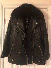 Bnwt Lab London Lambs Leather biker jacket /coat Size 10 RRP £240