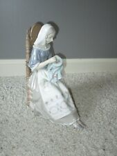 Lladro Spain Seated Woman Embroidery Insular Porcelain Large Figure 4865