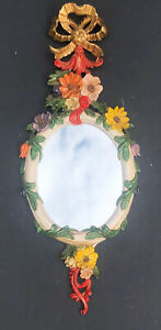 *RARE Vintage Carved MIRROR ITALY Antique EUROMARCHI COLOR Wall ITALIAN Floral