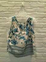 FLASH SALE - Urban Outfitters - White Blue Floral Sleeveless Blouse - L