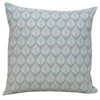"Scandi Minimalist Leaf Print Cushion, Duck Egg Blue. 17x17"" Square. 100% Cotton."