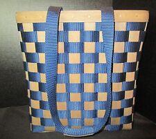 """Longaberger Tote Basket Plastic Liner Pocket Navy Blue Woven Design 12 1/2"""" Tall"""