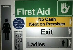 Strong Self Adhesive Signs First Aid Office Exit Toilet No Junk Mail Free P+P