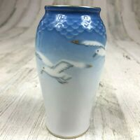Vintage ROYAL COPENHAGEN Denmark Porcelain Small Vase with Flying Birds Seagulls