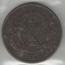 QUEBEC BANK OF CANADA, 1837, SOUS (ONE PENNY TOKEN), COPPER, KMTn13, VERY FINE