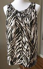 Talbots Brown Tan Tiger Print Sleeveless Pleated Neck Blouse Shirt Women's Sz 10