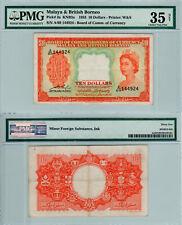 Malaya & British Borneo $10 P#3a (1953) PMG 35 Net