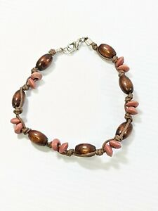 Artisan Brown Wood Oblong Bead Cord Woven Bracelet 9.5 Inches Tribal Style
