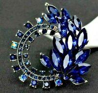 Glamorous Deep BLUE Silver SWIRL AB Rhinestone Leaf Flower  Retro Vintage Brooch