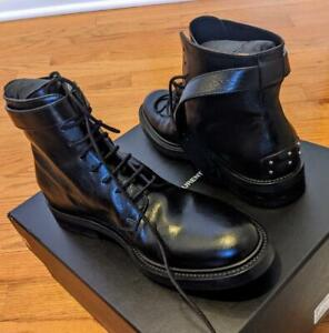 $1095 Mens Authentic Saint Laurent Army Buckle Leather Boots Black 43 US 10