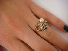 VINTAGE 18K GOLD PEARL AND DIAMONDS FAN DESIGN LADIES RING 4 GRAMS, SIZE 6
