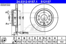 2x Bremsscheibe für Bremsanlage Hinterachse ATE 24.0312-0157.1