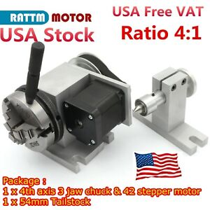 【US】 CNC Router Rotary Table 4:1 Rotation 4th Axis 3 Jaw 65mm Chuck w/ Tailstock