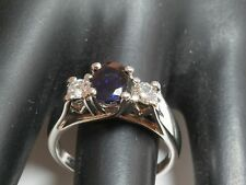 1.37 tcw Deep Blue Kashmir Sapphire Diamond 3 Stone Ring G/SI 14k WG Engagement