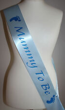 Blue Baby Shower Sash, Mummy To Be Satin Sash Ribbon BLUE/BLUE FOOTPRINT