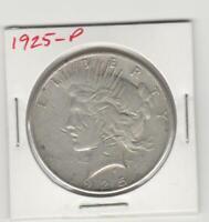 1925-P PEACE 90% SILVER DOLLAR (Average Circulated)