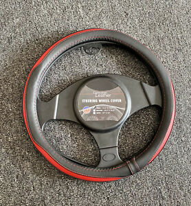 """Genuine Small Leather Steering Wheel Cover for Honda Civic , Toyota 13.5""""x14.5"""